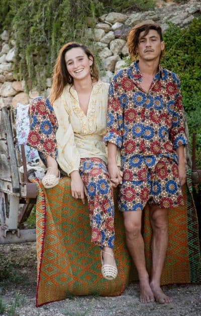 Matching unisex shorts, shirt and trousers in a blue and red mosaic print