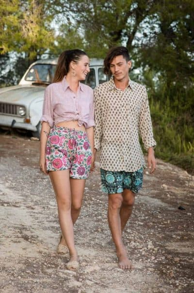 Boy & girl modelling unisex shirts and shorts in our hand block prints