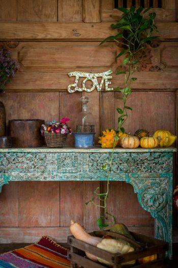 Colourful decor on a porch