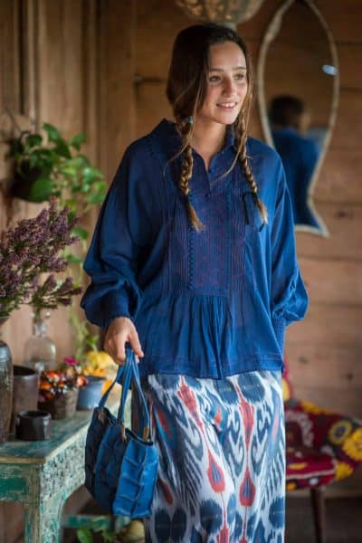 navy Romano bloused with ikaat print Mediterranean trousers