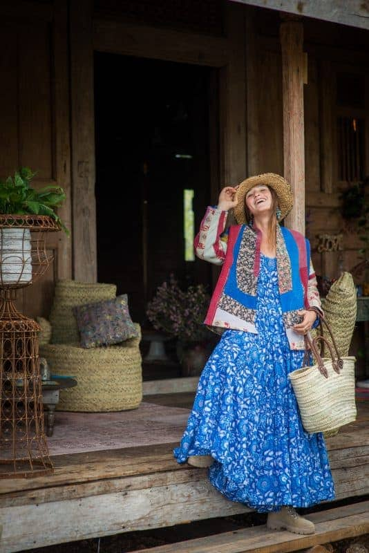 blue and white bohemian maxi dress with multicoloured patchwork jacket