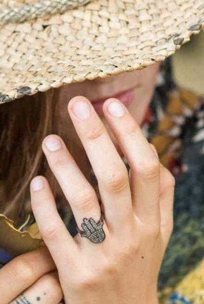Hamsa hand shaped ring in silver black rhodium