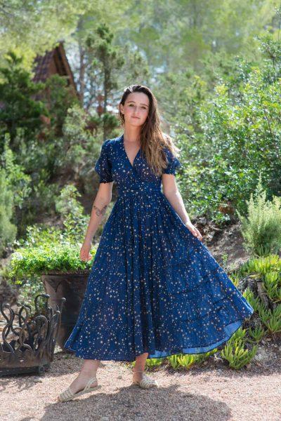 navy blue bohemian dress with stars