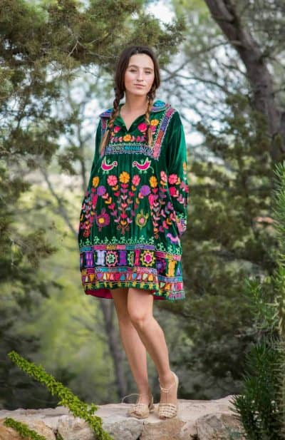 Green velvet dress with colourful embroidery