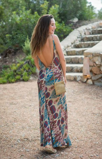 back view of the cream ikaat slip dress