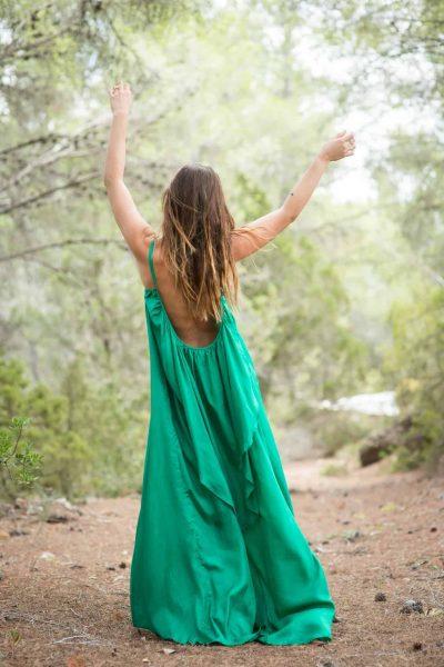 silk dress in emerald green