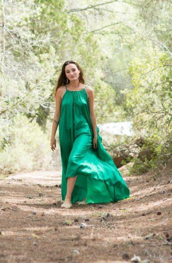 emerald green angel dress in silk with spaghetti straps
