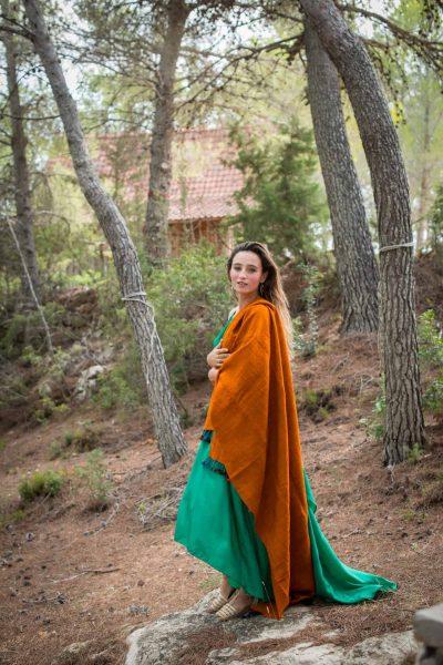 Orange Hand Spun Wool Shawl