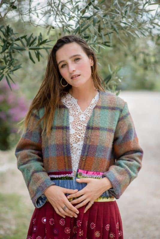 Long coat with checked wool and antique fabric