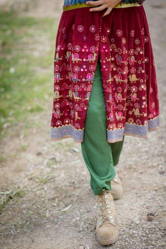 Antique mirrored fabric coat with embroidery