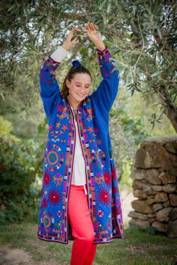 long blue woollen coat