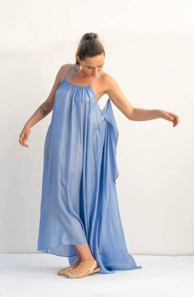 silk dress with tiered fabric in lavender blue