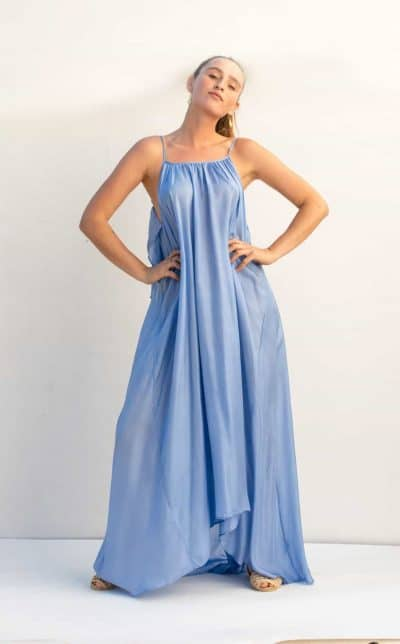 floor length silk dress with spaghetti straps in a lavender blue