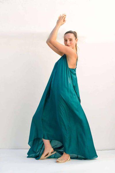 bottle green silk floor length dress