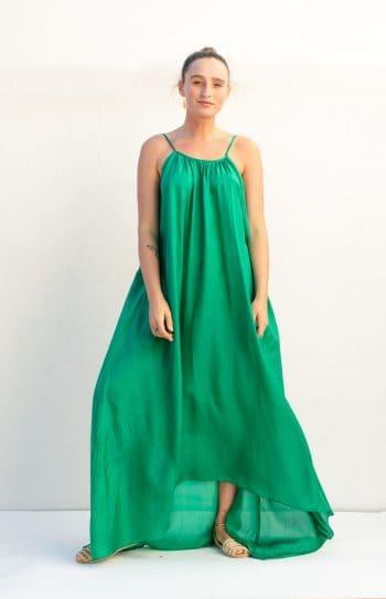 emerald green silk dress front view