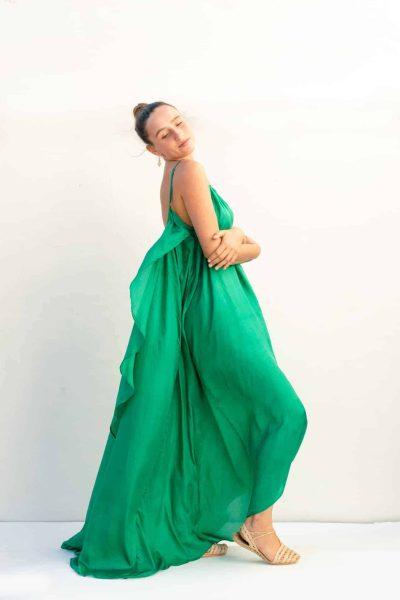 emerald green angel dress in silk