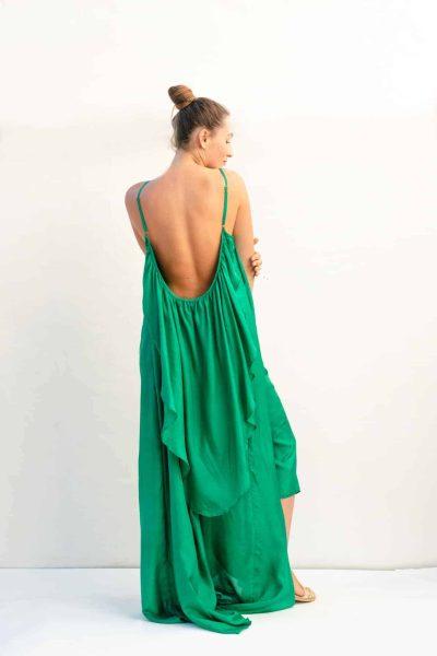 backless silk dress in green