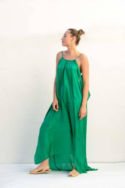 long silk dress with open back side view