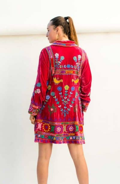 pink velvet dress with colourful embroidery and long sleeves