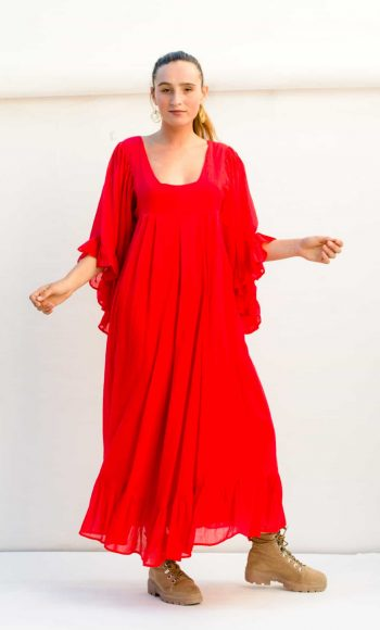 long red dress with a square neckline and butterfly sleeves