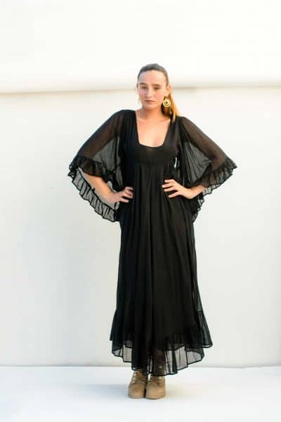 Square neckline on an ankle length dress with oversized butterfly sleeves