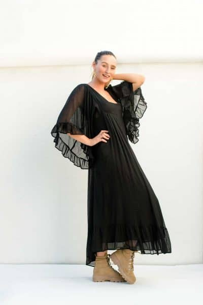 ankle length black dress with butterfly sleeves