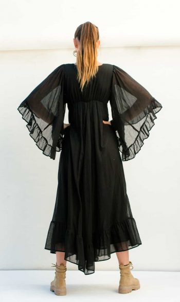 butterfly sleeves on a black dress
