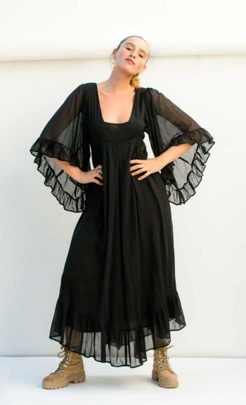 square neck black dress with oversized sleeves