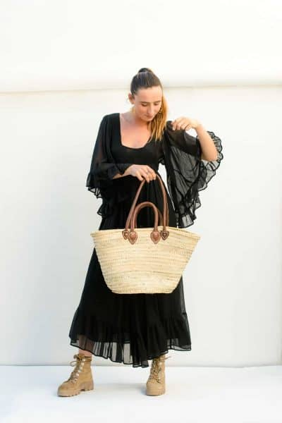 ibiza style basket with black dress with butterfly sleeves