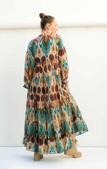 cream ikat print tiered dress with pockets