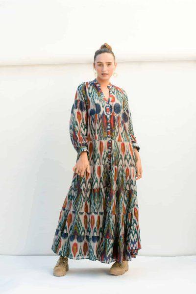 indigo ikat print dress