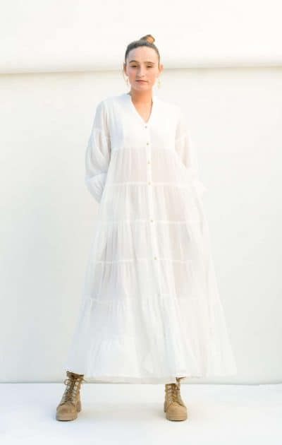 Tiered dress with frilled cuffs and pockets