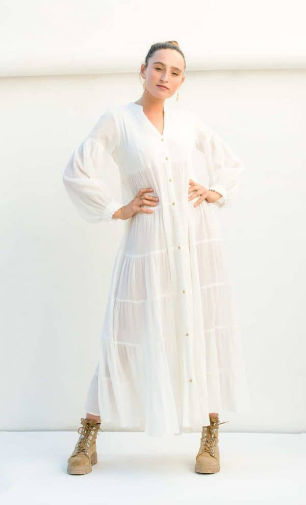 long white button up dress with pockets and long sleeves