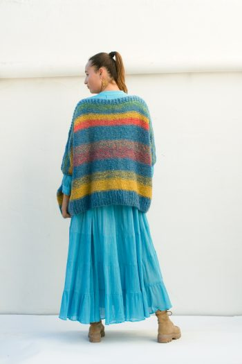 multicoloured mohair wool jumper with turquoise
