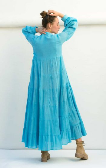 back view of the sky blue Rosalie dress