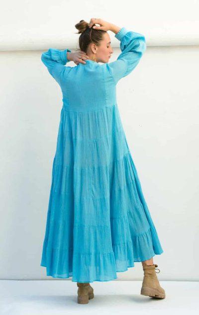 back view of the sky blue Rosalie dress