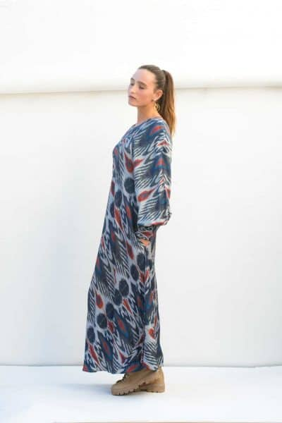 ankle length navy ikat dress with pockets