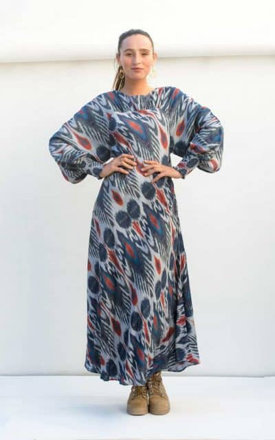 navy ikat print wedge dress
