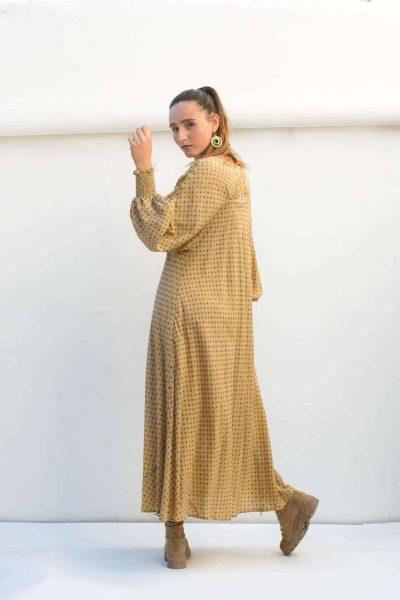 ankle length dark yellow dress