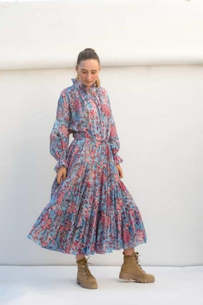 long sleeved midi dress with a frilled collar