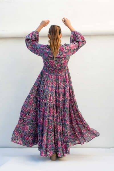 back view of a long grey and pink floral dress
