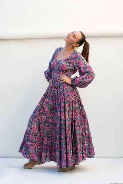 grey and pink floral print maxi dress