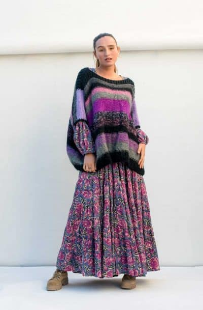 striped mohair jumper purple and black