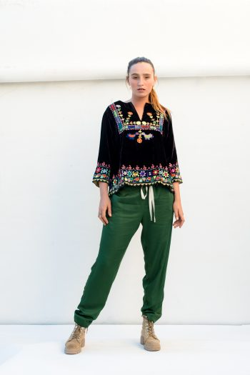 soft green trousers with brown velvet top