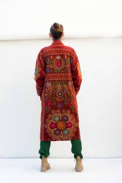 fully embroidered antique fabric coat