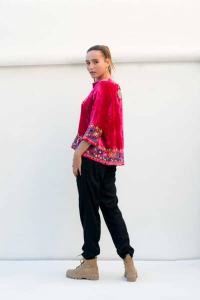 pink velvet top with black modal trousers