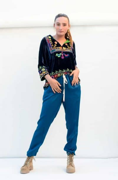 short blue velvet top with blue modal trousers