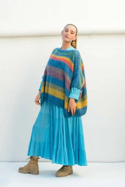 Striped turquoise wool jumper worn over a turquoise coat dress