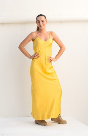 long yellow slip dress