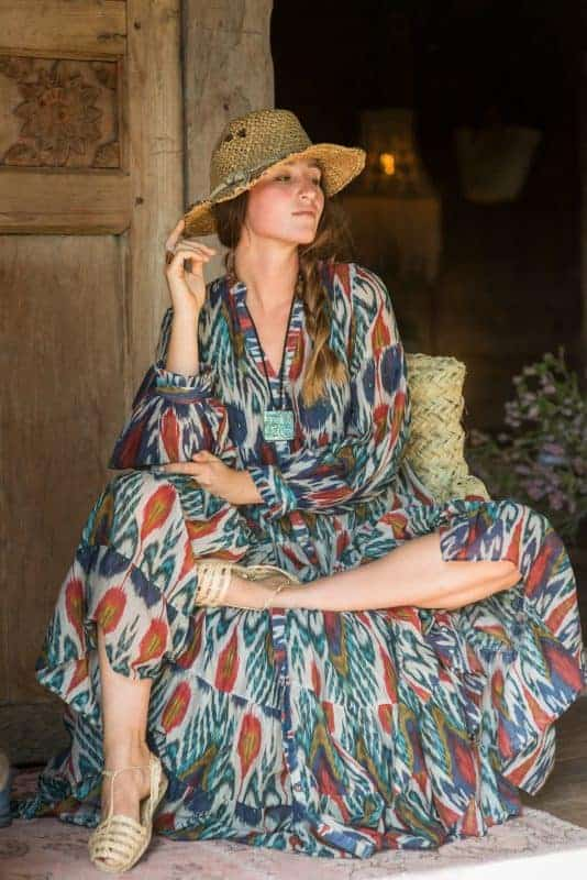 Long tiered dress in an ikat print